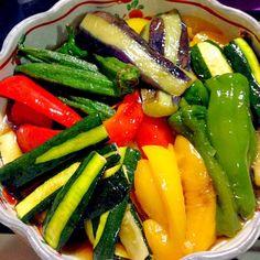 うちの夏の定番メニューです◡̈♥︎ - 8件のもぐもぐ - 夏野菜の揚げ浸し by aoitsukinohana