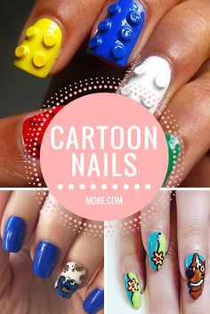 20 cartoon nail designs are great for a fun and fresh look; you'll find everything from Hello Kitty nails to superhero manicures.
