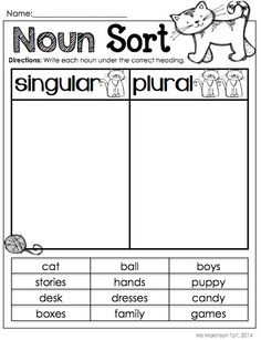 singular and plural noun common core practice for 1st and 2nd ...