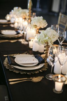 Black and White Wedding Table Setting Stationery, Old Hollywood Glamour | Little Paper Store | www.littlepaperstore.com