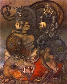 """Illustrations by Wayne Anderson, from the book """"The Flight of Dragons"""" written by Peter Dickinson, published in Estórias da Carochinha Fantasy Films, Fantasy Art, Wayne Anderson, Baumgarten, Dragon Jewelry, Bird Wings, Modern Artists, Art Google, Faeries"""