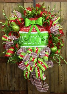 Whimsical Red and Green Mesh Wreath on Etsy, $109.00