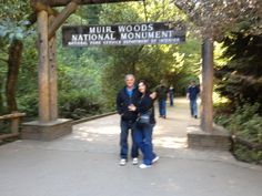 Melody & Garey at Muir Wood Forest where the huge redwoods are,