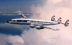 """dutch constellation KLM Super Connie- I've always maintained that Lockheed's Constellation series of commercial was the most elegant ever designed. """" Back in the day""""!"""