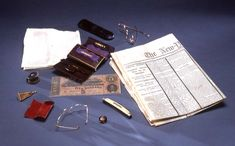 The contents of President Abraham Lincoln's pockets upon his death.
