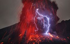 A bolt of lightning flashes in an erupting volcano in Japan in this photo taken by German photographer Martin Rietze at Sakurajima volcano, Japan. Sakurajima had been silent for 100 years when there was a huge eruption in 1914 which swallowed up nearby islands and created an isthmus to the mainland, ending its life as an island. Sakurajima's rumbled into life again in 1955 and has been erupting almost constantly ever since. Picture: Martin Rietze/National