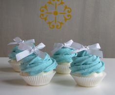 Fake Cupcake Turquoise Mini Cupcakes Set 4 Fab Wedding Shower, Party Centerpiece Idea Can be Ornaments Original 12 Legs Concept. $16.00, via Etsy.