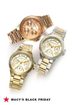 Macy's Black Friday Preview! Let's face it, these designer watches would look really good on your wrist...especially at 40% off. Save your fave now and shop it 11/23 to 11/26 online or 11/24 to 11/26 in store.