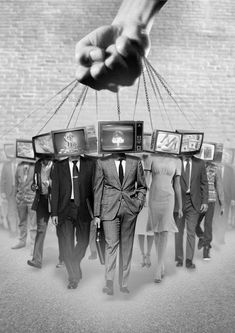 """The people will believe what the media tells them they believe."" ~~George Orwell, author of 1984 and Animal Farm. READ and think for yourself. Protest Kunst, Protest Art, Collage Kunst, Collage Art, Street Art, Wall Street, Urbane Kunst, Photocollage, Illuminati"