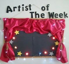 Artist of the Week bulletin board idea for PTA change to star students School Displays, Classroom Displays, Music Classroom, Classroom Themes, Hallway Displays, Classroom Walls, Classroom Organization, Hollywood Theme Classroom, Student Of The Week