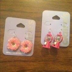 Donut and Gumball machine earrings Super cute donut earrings and adorable gumball machine earrings. So girly great spring and summer accessories. Perfect for the kawaii lover. No trades :) Claire's Jewelry Earrings