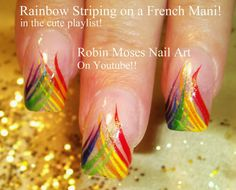 Easy Rainbow Stripe Nail Art