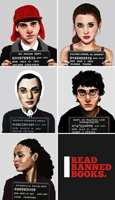 Banned Books Mugshots (Black) Art Print by katebee Library Posters, Library Art, Library Ideas, Library Memes, Teen Library, Library Inspiration, Library Science, Library Activities, Books To Read