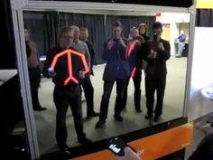 Skeletal tracking + two way mirror + large screen + phone sensors = holographic mirror display.