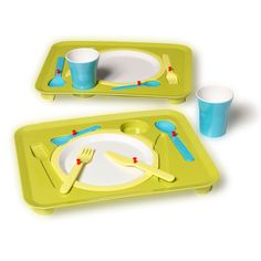 Royal VKB's Kid Puzzle Dinner Tray. Stop playing with your food! A tray designed to make eating and learning fun for children. Each utensil and the cup fit in their very own slot allowing little gourmands to exercise simple skills of geometry while learning the correct place settings for all those future dinner parties.