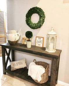 Farmhouse Entry Table, Cross End Entry Table, Rustic Entry Table, Homedecormomma Table – Decorating Foyer Rustic Entry Table, Entry Tables, Rustic Decor, Console Tables, Shabby Chic Entryway, Entryway Decor, Living Room Furniture, Living Room Decor, Hallway Designs