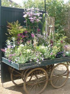 flowers on a garden cart Garden Cart, Garden Shop, Garden Nursery, Plant Nursery, Garden Center Displays, Flower Cart, Flower Stands, Outdoor Plants, Potted Plants