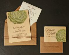 Succulent Wedding Invitation by oakandorchid on Etsy, $10.00