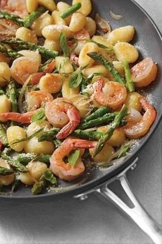 Gnocchi, shrimp, asparagus, cheese.... This looks amazing! One day...when I eat cheese and gnocchi again