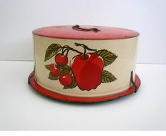 vintage tin lithograph cake carrier-I gave one just like this to Brandy!