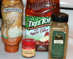 Carmel apple cider in the crock pot ( serves 4 but just use a bigger pot and double ingredients)  4 cups apple cider  3 tablespoons caramel syrup (the ice cream topping)  1/2 tablespoon ground cinnamon  1/4 teaspoon ground cloves  4 tablespoons sweetened whipped cream
