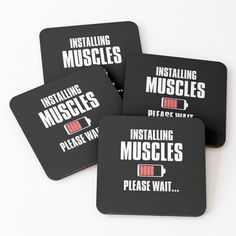 Please Wait & Loading Gains' Coasters by One Sided, Cold Drinks, Coaster Set, Muscles, It Works, Waiting, Cards Against Humanity, Printed, Awesome