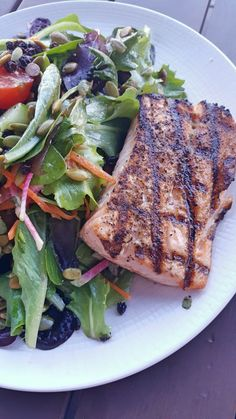 Healthy Lunch Of Fresh Grilled Salmon And Greens With A Few Special Twists Fare Restaurant