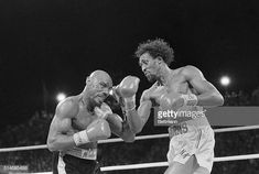 """Challenger Thomas """"Hit Man"""" Hearns strikes middleweight champion """"Marvelous"""" Marvin Hagler with a right to the face during a boxing match in Las Vegas, Nevada. April Get premium, high resolution news photos at Getty Images Frank Stallone, Sylvester Stallone, Marvelous Marvin Hagler, Eddie Griffin, Larry Holmes, Boxing History, Art Of Fighting, Hollywood Hotel, City People"""
