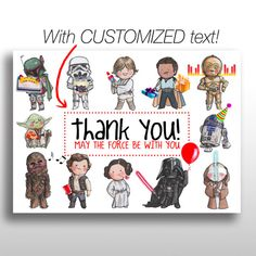 Customized printable star wars invitations star wars invite adorable printable 5x7 star wars birthday party themed thank you cards the design incorporates stopboris Image collections