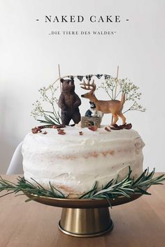 """Birthday cake """"The animals of the forest"""" - Naked Cake with Mascarpone Source by . - Birthday cake """"The animals of the forest"""" – Naked Cake with Mascarpone Source by MoreIsNow - Baby Cakes, Nake Cake, Woodland Cake, Cake With Cream Cheese, Savoury Cake, How To Make Cake, Cake Toppers, Cake Decorating, Wedding Cakes"""