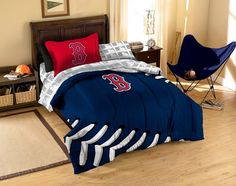 5pcs MLB Baseball Boston Red Sox Bed-in-a-bag Comforter with Sheet Set Twin