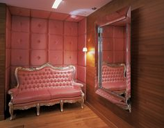 Pretty in pink! J Plus Boutique Hotel in Hong Kong is très chic. The apartment-style hotel's modern and quiet, white interiors provide an escape from the bustle of Causeway Bay. Hong Kong, Pink Couch, Pink Settee, Upholstered Walls, Creative Decor, Decorating Your Home, Interior Decorating, Decorating Ideas, Craft Ideas
