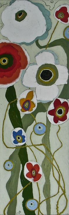 PASSIONATE POPPIES - 36x12 - oil - $1600.