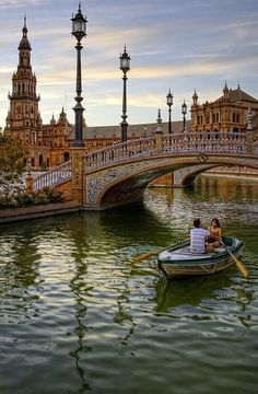 Seville Spain :: Plaza de España. I actually did the rowboat and it was awesome.