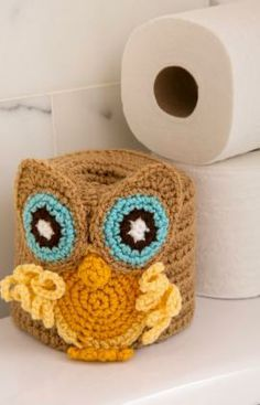 Retro Owl Toilet Roll Cover Free Crochet Pattern from Red Heart Yarns