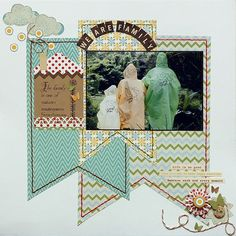 Scrapbook layout: love the banners as the background.