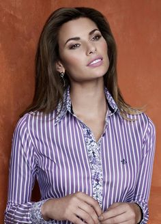 inspiration for a Liesl + Co Classic Shirt to sew Sewing Blouses, Sewing Shirts, Mom Outfits, Casual Outfits, Fashion Outfits, Look Office, The Office Shirts, Loose Shirts, Purple Fashion