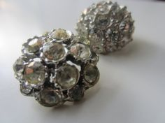 Vintage Buttons  beautiful lot of 2  rhinestone by pillowtalkswf, $8.50