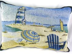 #Beach Scene with Lighthouse background Decorative Tapestry #Pillows by @Nancy Tonelli - Jazz It Up with Designs #jazzitupwithdesignsbynancy #ArtFire