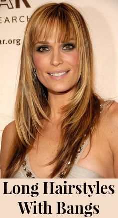 long hair styles for women with bangs
