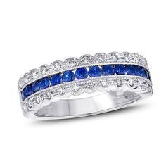 Blue Sapphire and 1/4 CT. T.W. Diamond Vintage-Style Anniversary Band in 14K White Gold