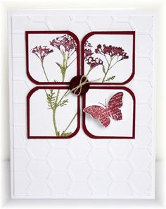 The card - stamped images are from SU. I stamped the flowers on a piece of paper and then punched the squares out of the stamped piece....