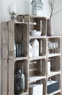 What a beautiful way to repurpose old wooden shipping crates. Stacked together, they make a really unique storage piece!
