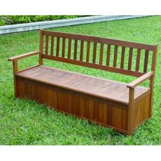 3 Seat Hardwood Garden Storage Bench - Hardwood Garden Furniture from Next Day Diy UK & Plans for Deck Bench which allows storage space for seat cushions ...