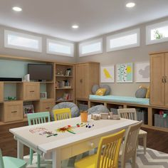 This play space is fun for the little ones and practical for parents. 750 Maple Rye cabinetry ensures a place for everything! Bath Cabinets, Maple Cabinets, Kitchen Cabinetry, Home Renovation, Home Remodeling, Kitchen Remodeling, Kitchen Trends 2018, Floors And More, Cabinet Doors
