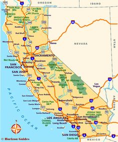 Map of Major Cities of California | MAPS in 2019 | California city ...