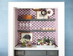 6 Ideas For Decorating a One-Bedroom // wallpaper, closet, built-in, bar, glassware