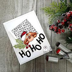 Hello and Happy Wednesday Crafty Friends! Tina here from Cards and Coffee Time. Today for my Gerda Steiner Design Team Project I created a HO Ho Ho Christmas card with the Gerda Steiner Designs On the Table stamp. This is a stamp. Whimsy Stamps, Love Stamps, Mft Stamps, Christmas Cards To Make, Xmas Cards, Magical Christmas, Christmas Fun, Advent, Cute Birthday Cards