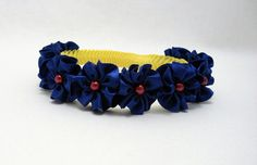 Snow White Princess Crown Wreath Braided Headband Blue Flowers Red Pearls, Children, Adult, Halloween, Birthday, Dress Up, MADE TO ORDER