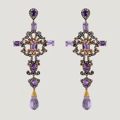 Long Cross Shape Vermeil Drop Earrings With...